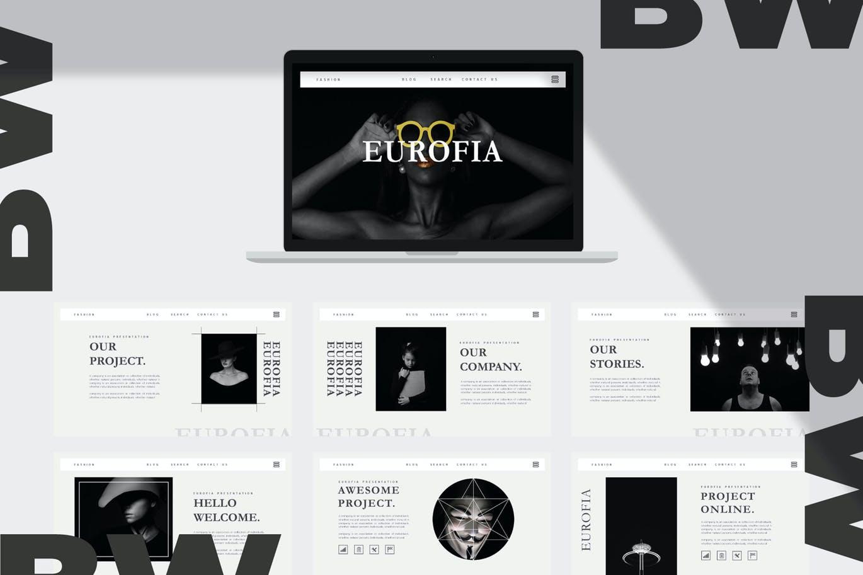 黑白配色主题PPT幻灯片模板 Eurofia – Powerpoint Template设计素材模板