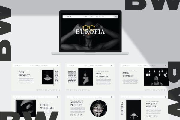 黑白配色主题PPT幻灯片模板 Eurofia – Powerpoint Template
