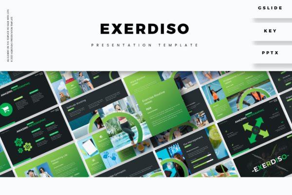 企业财务报告草绿色数据分析PPT模板 Exerdiso – Presentation Template