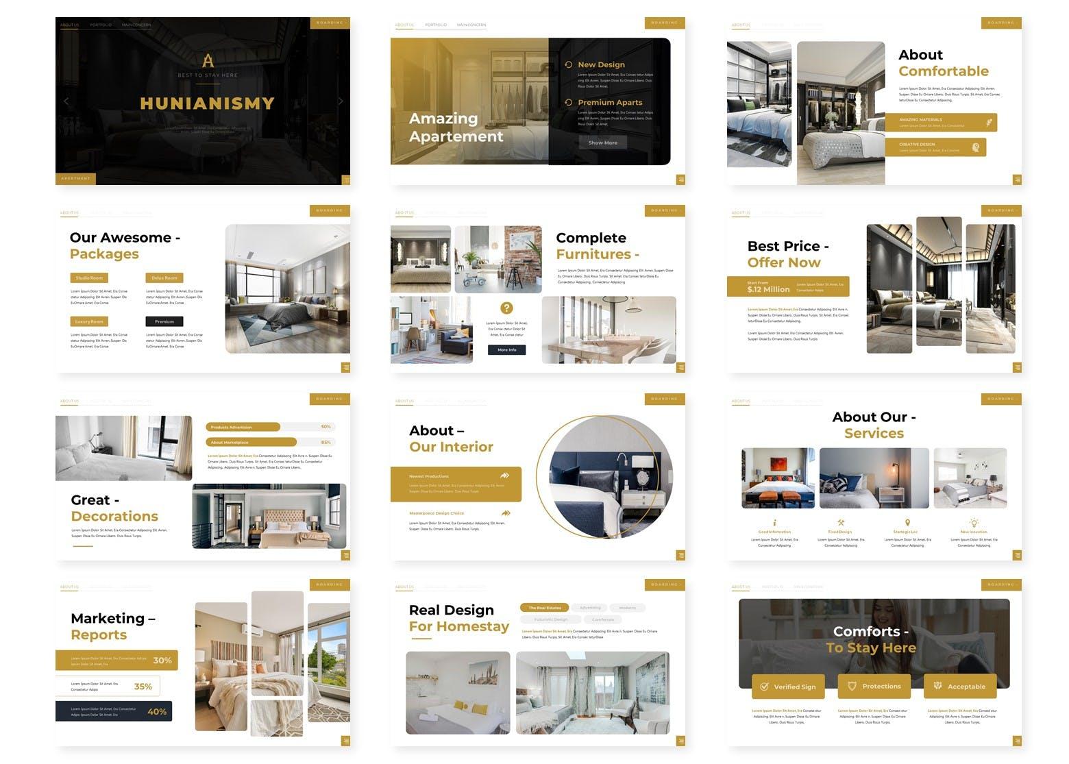 酒店品牌房间展示PowerPoint演示模板 Hunianismy – Presentation Template设计素材模板
