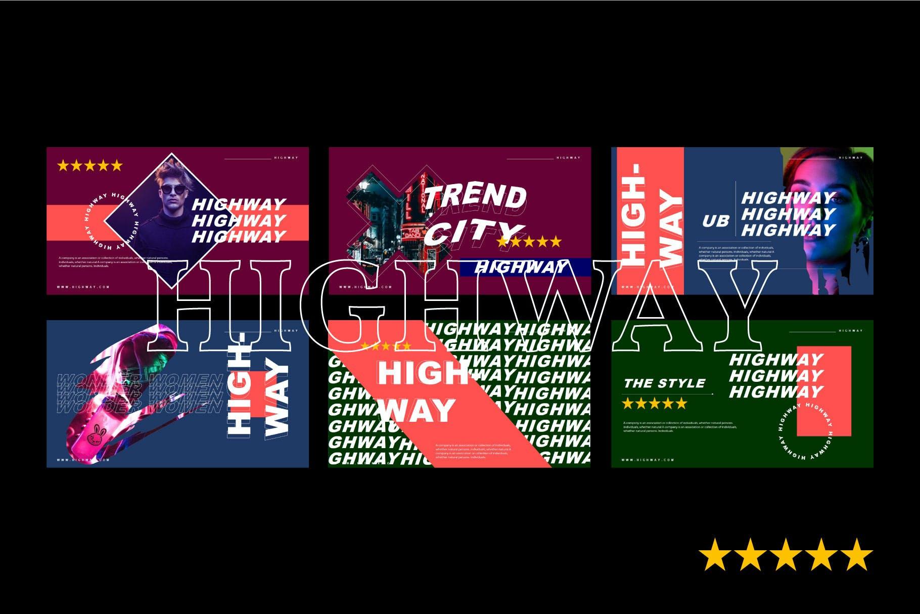 音乐活动午夜派对Powerpoint模板下载 HIGHWAY – Powerpoint Template设计素材模板