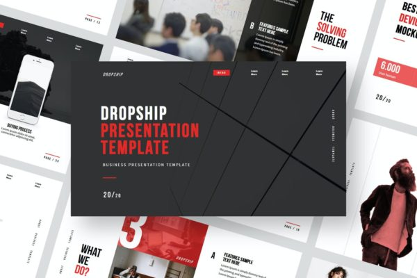 PowerPoint演示模板服装设计师作品展示 Dropship – Powerpoint Template