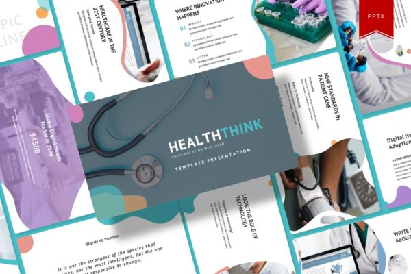 Powerpoint幻灯片模板健康医疗服务主题 Healththink – Powerpoint Template