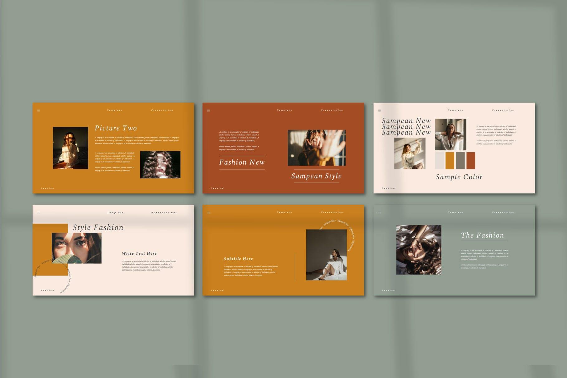 品牌指南新品服装Powerpoint模板 Sampean – Powerpoint template设计素材模板