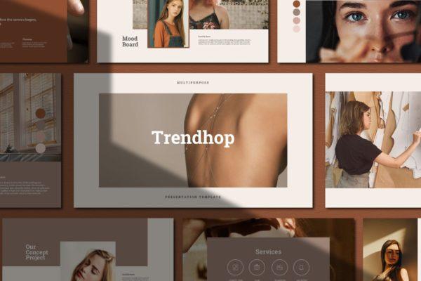 潮流时尚女性Powerpoint幻灯片模板 Trendhop Powerpoint Template