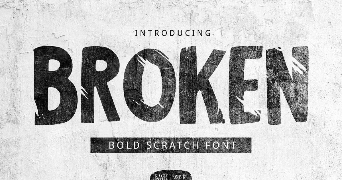 多功能英文带划痕的手写字体(粗体) Broken Font设计素材模板