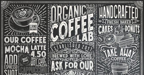 15款英文粉笔字体创意黑板 15 Fonts Coffee Lab Collection