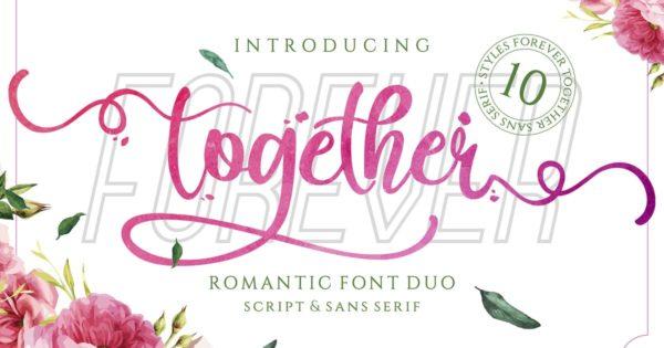 手写体设计婚礼邀请函&无衬线字体组合 Forever Together – Romantic Font Duo