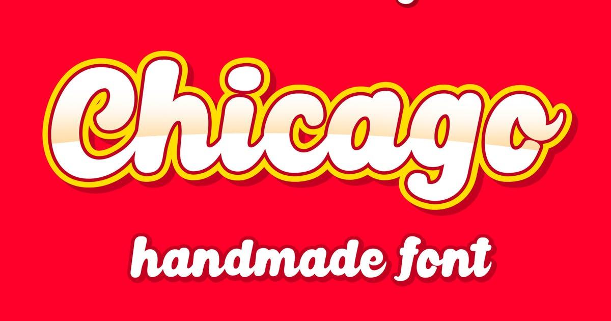 3D卡通独特连笔英文手写字体 Chicago Font设计素材模板