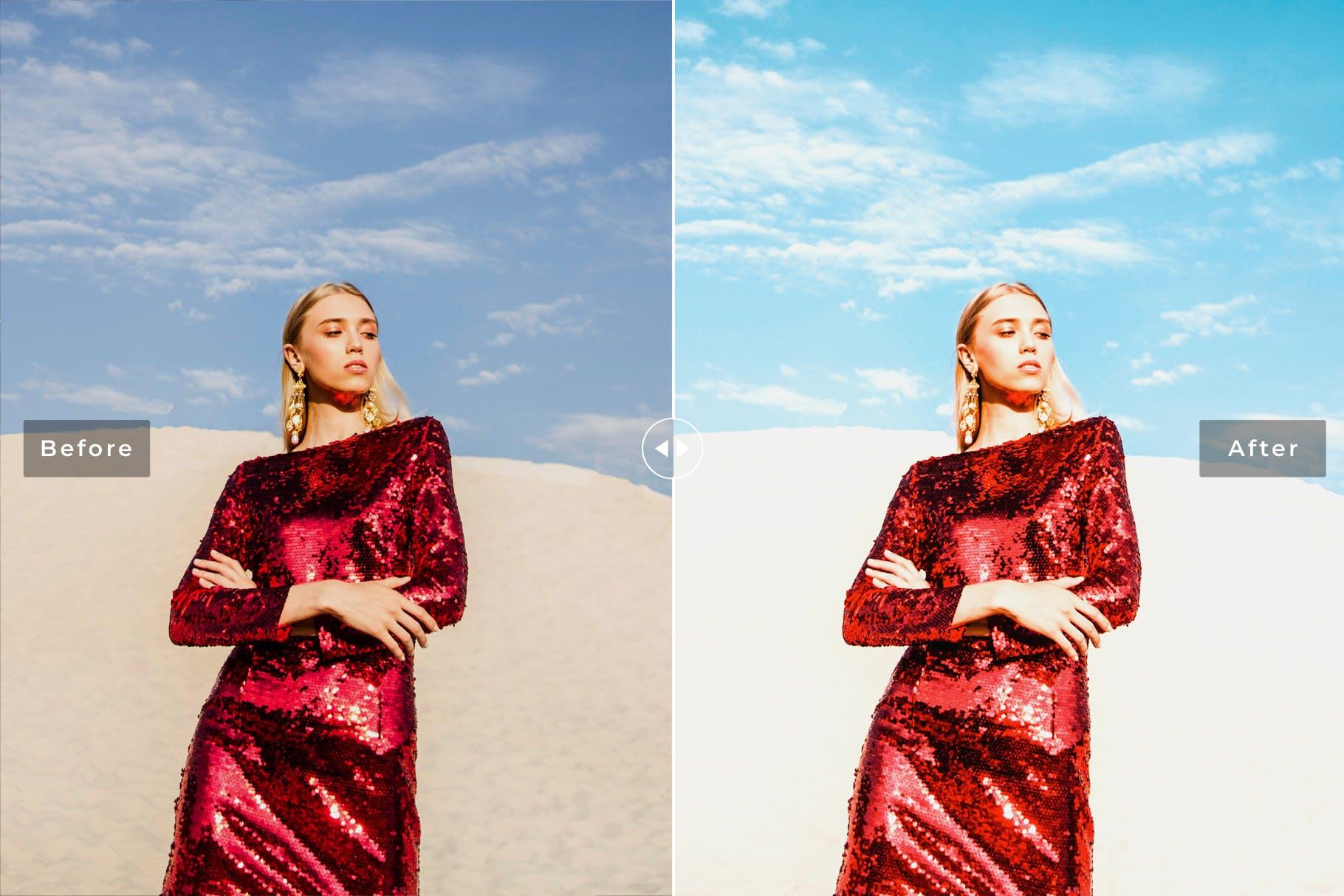 调色LR预设沙漠取景摄影后期 Sand Dunes Mobile & Desktop Lightroom Presets设计素材模板