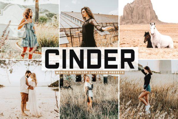 柔和暖色调和低对比度照片滤镜LR预设 Cinder Mobile & Desktop Lightroom Presets