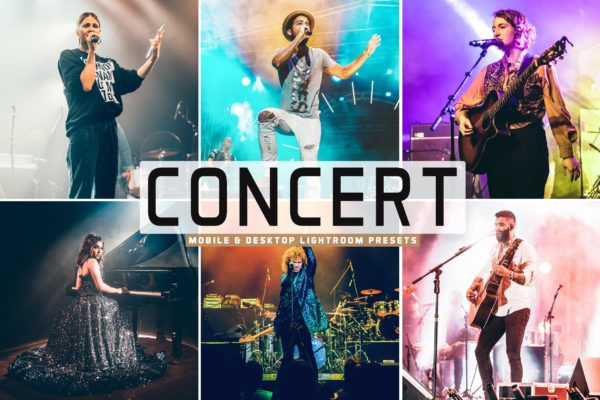 后期处理LR音乐会照片调色滤镜 Concert Mobile & Desktop Lightroom Presets