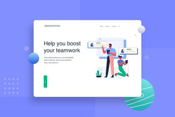 评分主题网站合作伙伴设计矢量插画 Give rating to partner landing page Illustration