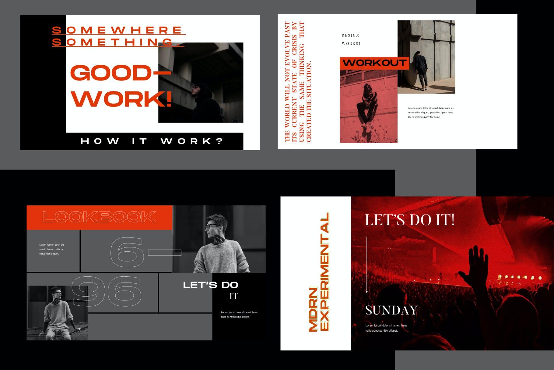 PowerPoint演示模板时尚促销活动 WORKOUT – Powerpoint Template设计素材模板