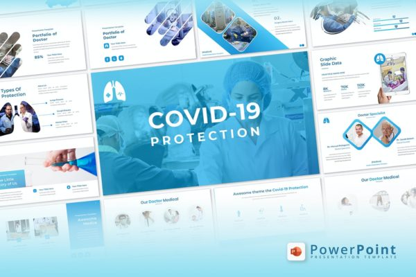 医疗主题冠状病毒病防护Powerpoint模板下载 Covid-19 Protection – Powerpoint Template