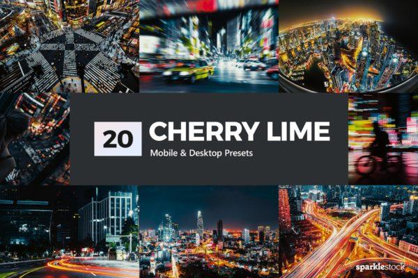 LR预设20款城市夜景摄影 20 Cherry Lime Lightroom Presets & LUTs