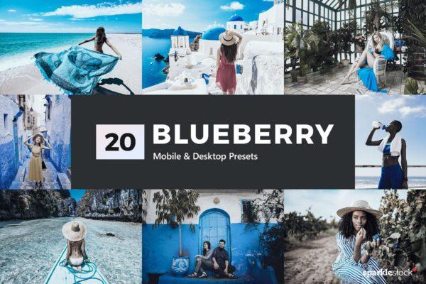 LR蓝色调色预设电影级摄影效果处理 20 Blueberry Lightroom Presets & LUTs