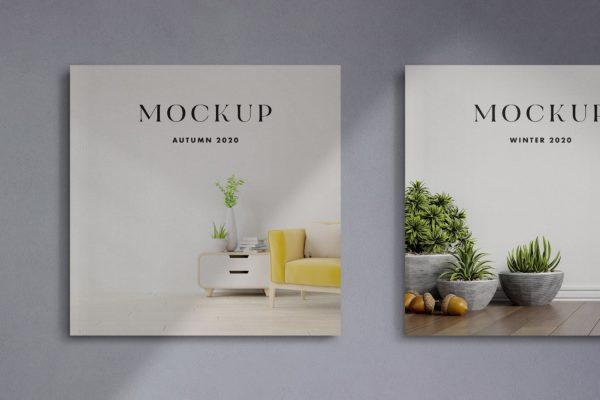杂志封面方形产品设计样机模板 Square Cover Magazines Mockup
