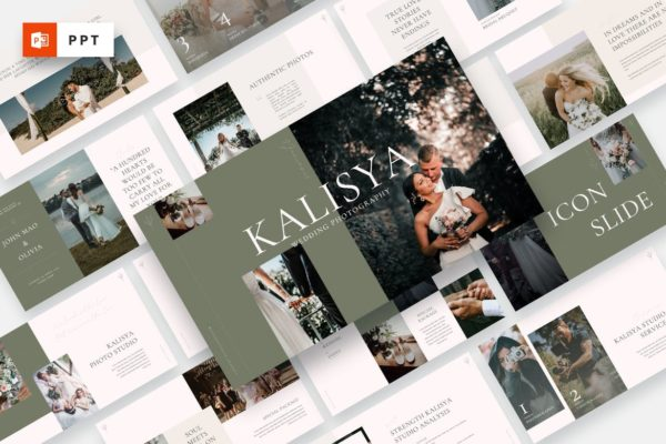 业务推广婚纱摄影PPT幻灯片模板 Kalisya – Wedding Photography Powerpoint Template