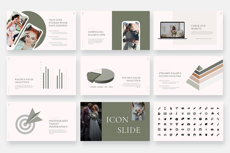业务推广婚纱摄影PPT幻灯片模板 Kalisya – Wedding Photography Powerpoint Template设计素材模板