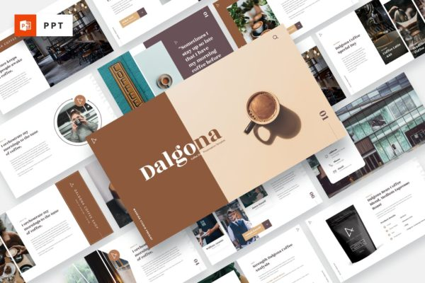咖啡&咖啡店品牌推广PPT演示文稿 DALGONA – Coffee Shop & Cafe Powerpoint Template