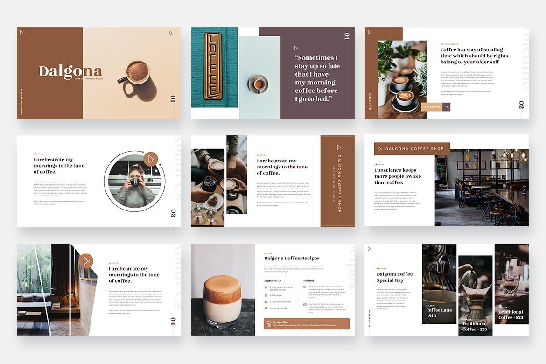 咖啡&咖啡店品牌推广PPT演示文稿 DALGONA – Coffee Shop & Cafe Powerpoint Template设计素材模板