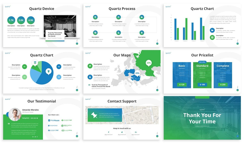 商务演讲PPT创意金融主题模板下载 Quartz – Multipurpose Powerpoint Template设计素材模板