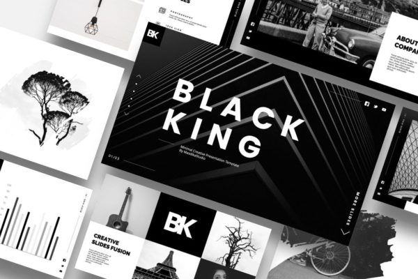独特创意黑色背景Powerpoint模板合集 Black King – Minimal Creative Powerpoint Template