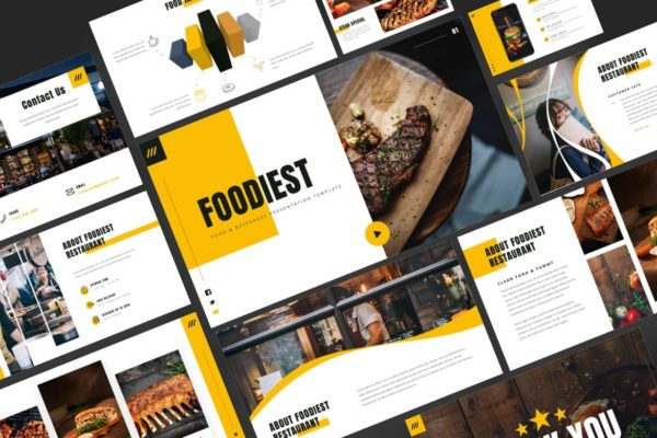 现代烹饪专业课程PPT幻灯片模板 Foodiest – Food & Beverages Powerpoint Template