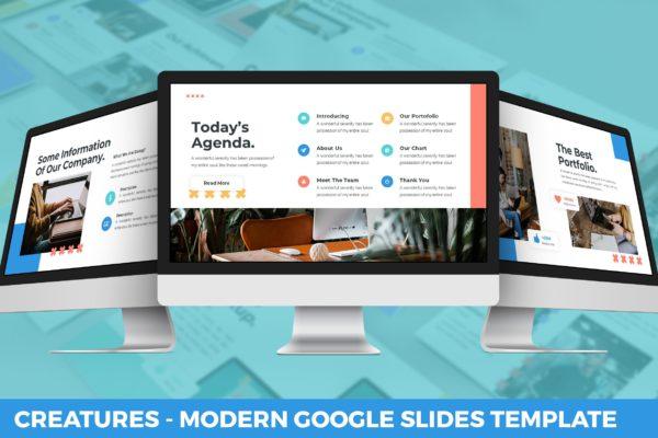 多用途彩色现代生物主题谷歌幻灯片模板 Creature – Modern Google Slides Template