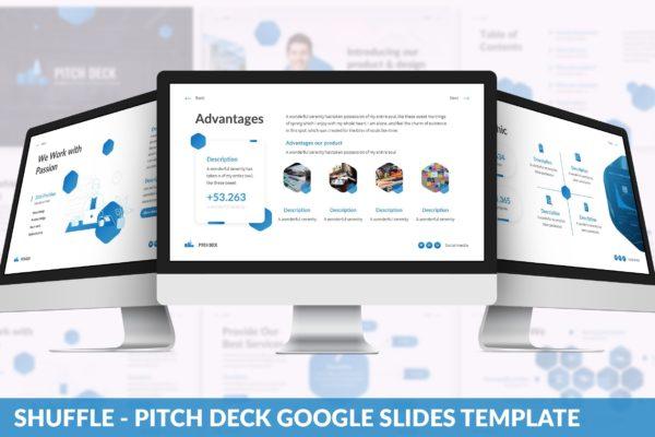 现代技术开发团队介绍演示文稿Google幻灯片模板 Shuffle – PitchDeck Google Slides Template