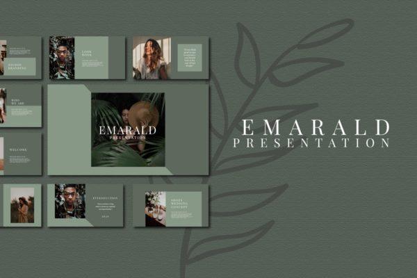 配色方案橄榄绿时尚创意演示PPT模板 Emarald – Powerpoint Template