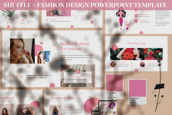 时装设计女性主题PowerPoint演示模板 Shuffle – Fashion Design Powerpoint Template