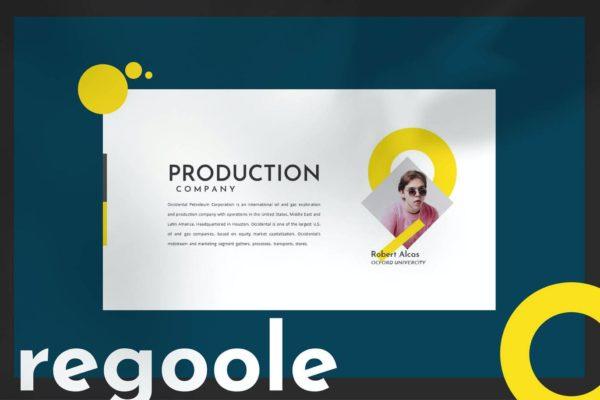 工作室团队成员介绍黄色主题Powerpoint模板 Regoole – PowerPoint Template