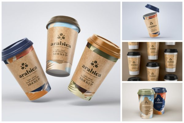 包装设计带杯套的咖啡杯样机集 Take Away Paper Coffee Cup Mockup Set