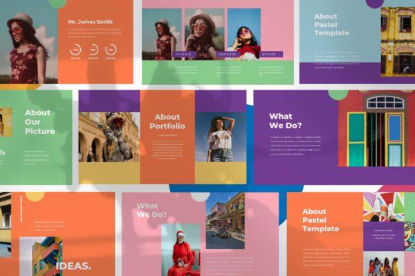 服装品牌推广创意多彩风格Powerpoint模板 Monsta – Powerpoint Template