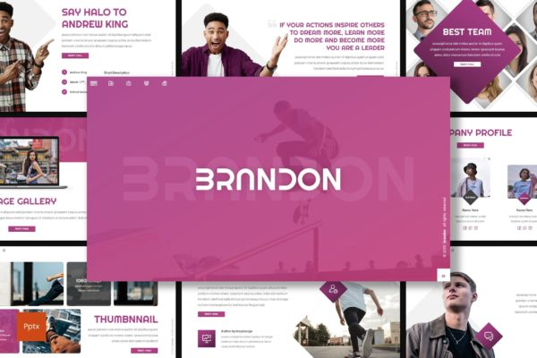 PPT演示幻灯片模板创意团队介绍 Brandon – Creative Powerpoint Template