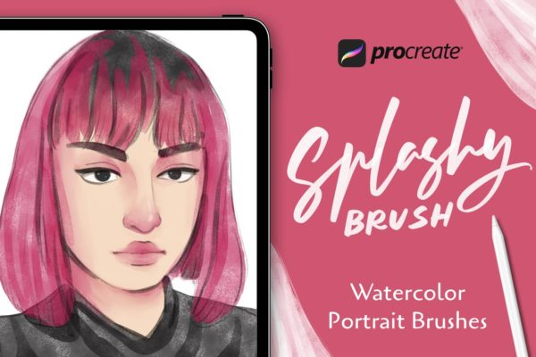 Procreate绘画笔刷合集水彩人物肖像 Spalshy Brush – Procreate Brushes