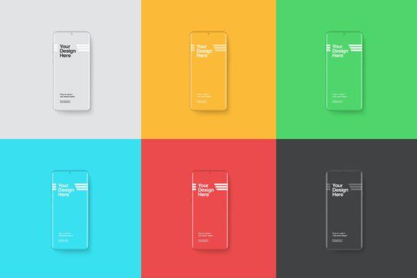 多彩风格粘土智能手机样机模板 Smartphones Mockup – Clay Color