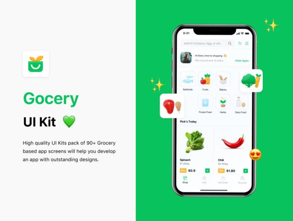 商店杂货水果蔬菜应用程序UI套件