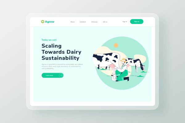 网站设计奶牛牧场主题矢量插画素材 Cow Farm Commodity Landing Page Header