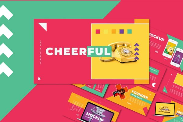 PPT演示多彩配色幻灯片模板 Cheerful – Power Point Template