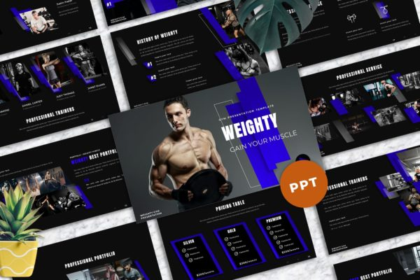 PowerPoint演示文稿运动健身模板 Weighty – Gym Powerpoint Templates