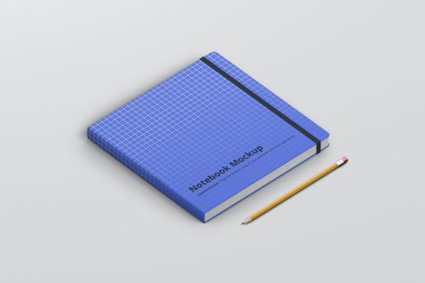 笔记本&方形尺寸记事本设计样机模板 Notebook Mockup Square Format