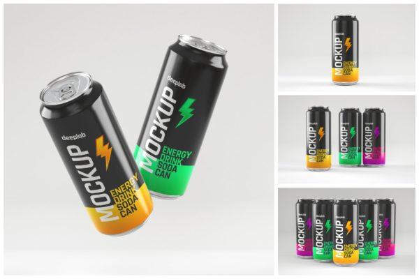 苏打水易拉罐能量饮料样机集 Glossy Energy Soda Can Mockup Set