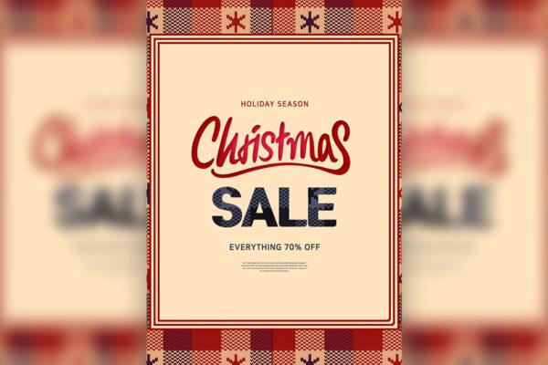 圣诞假期促销毛衣风格活动海报设计模板