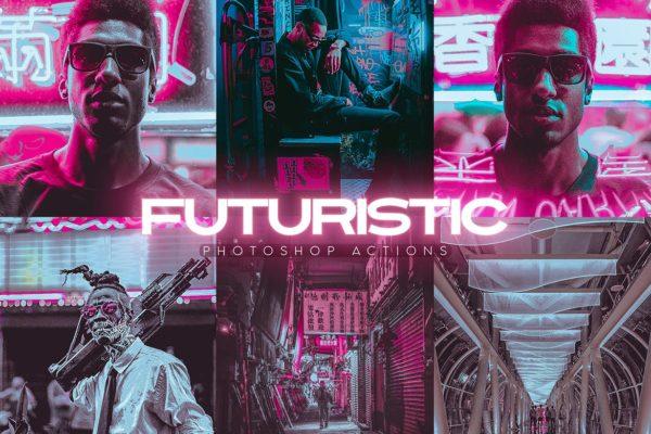幻想未来高科技机械风蓝紫色系Photoshop动作 Futuristic Photoshop Actions