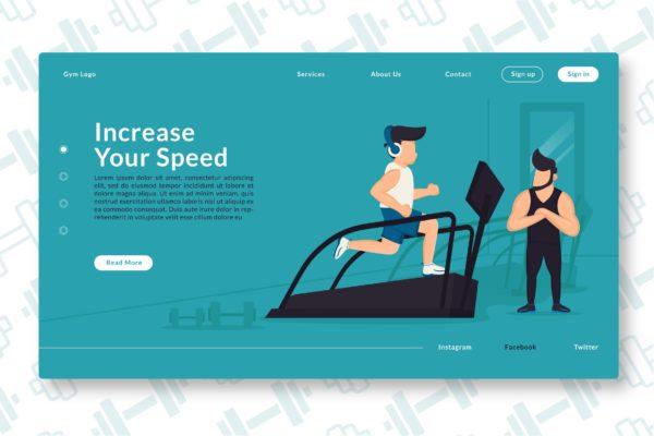 网站设计提高速度主题插画素材 Increase Your Speed – Web Header & Landing Page GR