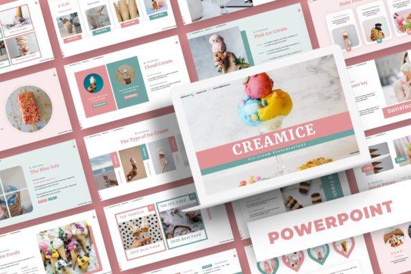食品主题冰淇淋PPT模板 Creamice – Powerpoint Template