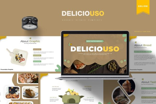 Google幻灯片面包美食推广模板素材 Deliciousi | Google Slides Template